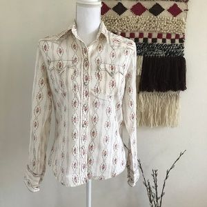 Lucky Brand Floral Ivory Button Shirt